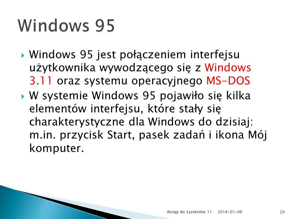 Windows 95Windows 95 jest połączeniem interfejsu użytkownika wywodzącego się z Windows 3.11 oraz systemu operacyjnego MS-DOS.