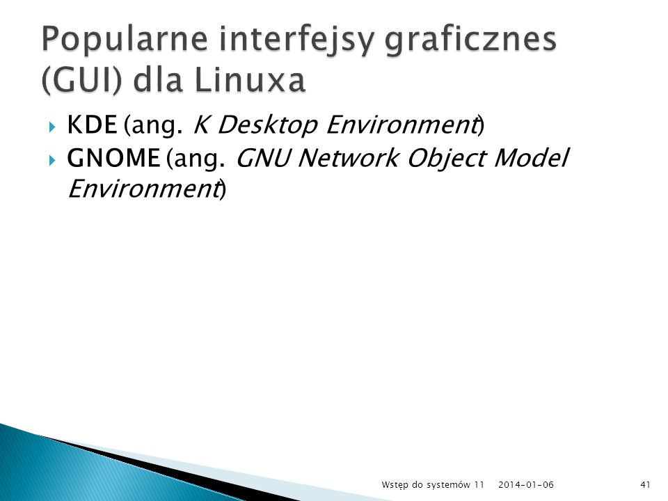 Popularne interfejsy graficznes (GUI) dla Linuxa
