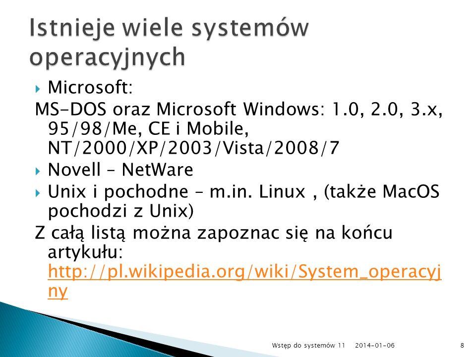 Istnieje wiele systemów operacyjnych