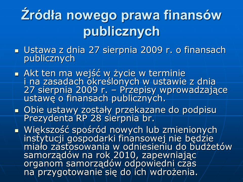 Źródła nowego prawa finansów publicznych