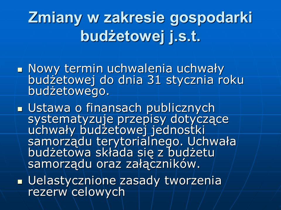 Zmiany w zakresie gospodarki budżetowej j.s.t.