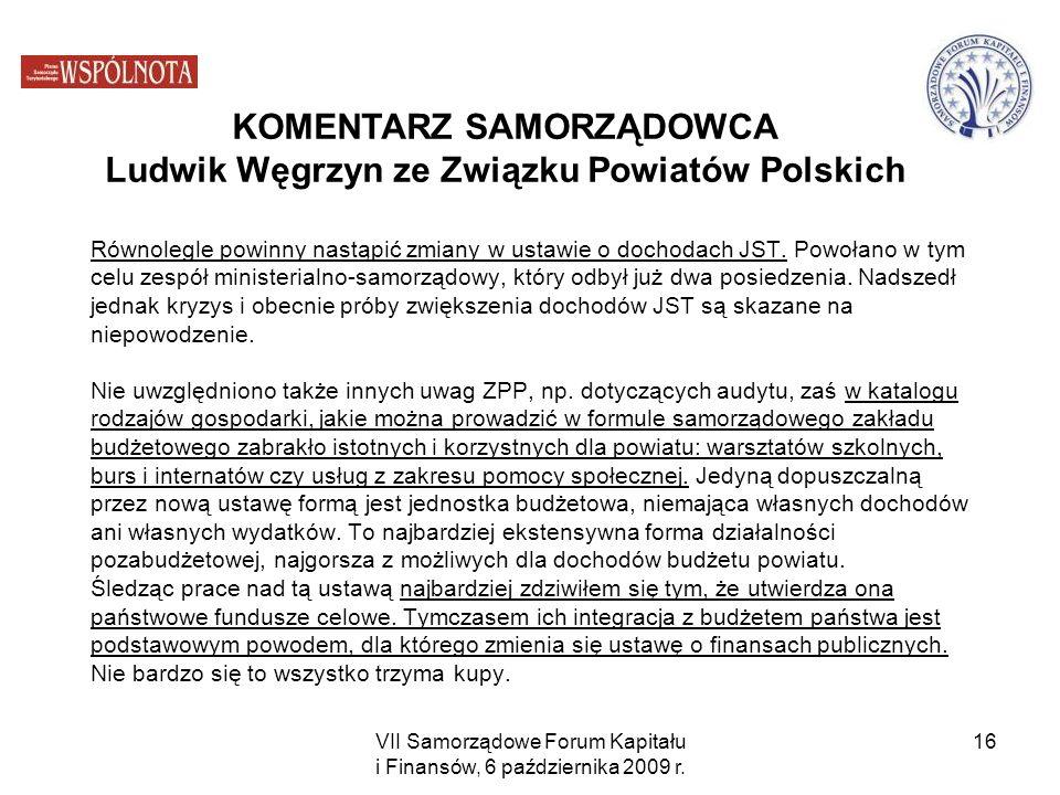 KOMENTARZ SAMORZĄDOWCA Ludwik Węgrzyn ze Związku Powiatów Polskich