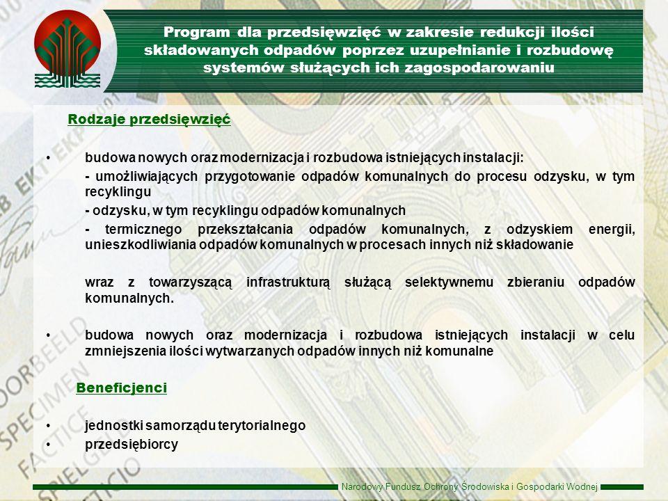 Program dla przedsięwzięć w zakresie redukcji ilości składowanych odpadów poprzez uzupełnianie i rozbudowę systemów służących ich zagospodarowaniu