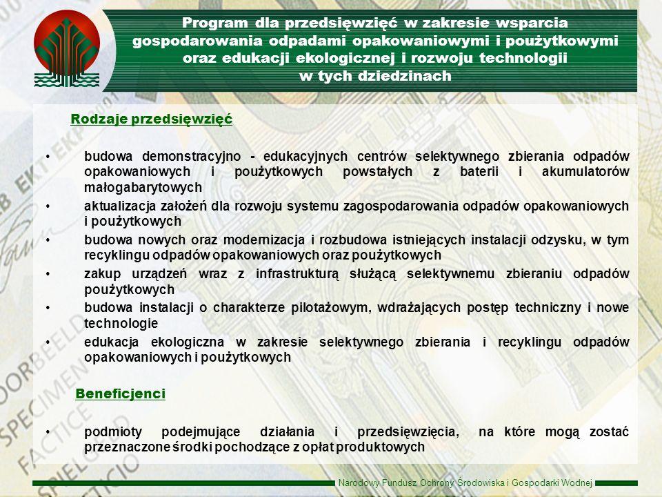 Program dla przedsięwzięć w zakresie wsparcia gospodarowania odpadami opakowaniowymi i poużytkowymi oraz edukacji ekologicznej i rozwoju technologii w tych dziedzinach