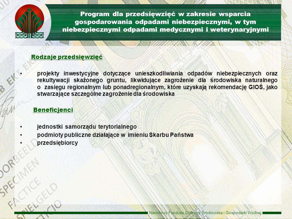 Program dla przedsięwzięć w zakresie wsparcia gospodarowania odpadami niebezpiecznymi, w tym niebezpiecznymi odpadami medycznymi i weterynaryjnymi