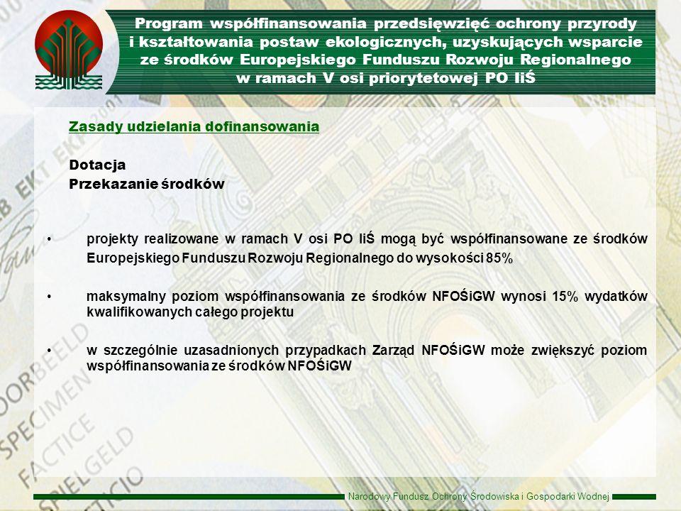 Program współfinansowania przedsięwzięć ochrony przyrody i kształtowania postaw ekologicznych, uzyskujących wsparcie ze środków Europejskiego Funduszu Rozwoju Regionalnego w ramach V osi priorytetowej PO IiŚ