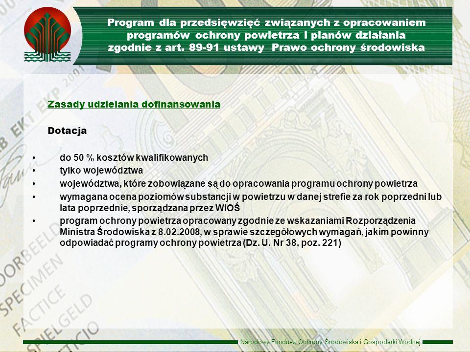 Program dla przedsięwzięć związanych z opracowaniem programów ochrony powietrza i planów działania zgodnie z art. 89-91 ustawy Prawo ochrony środowiska