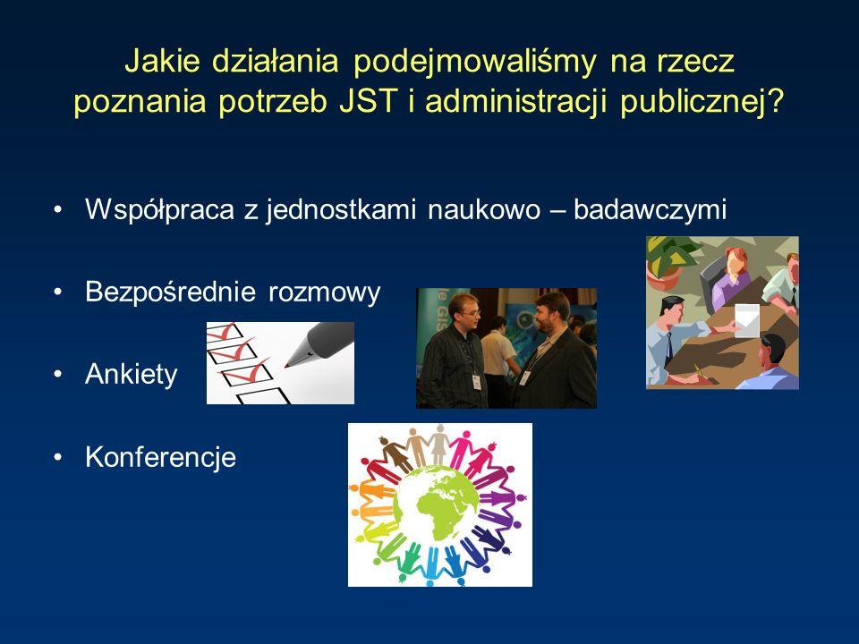 Jakie działania podejmowaliśmy na rzecz poznania potrzeb JST i administracji publicznej