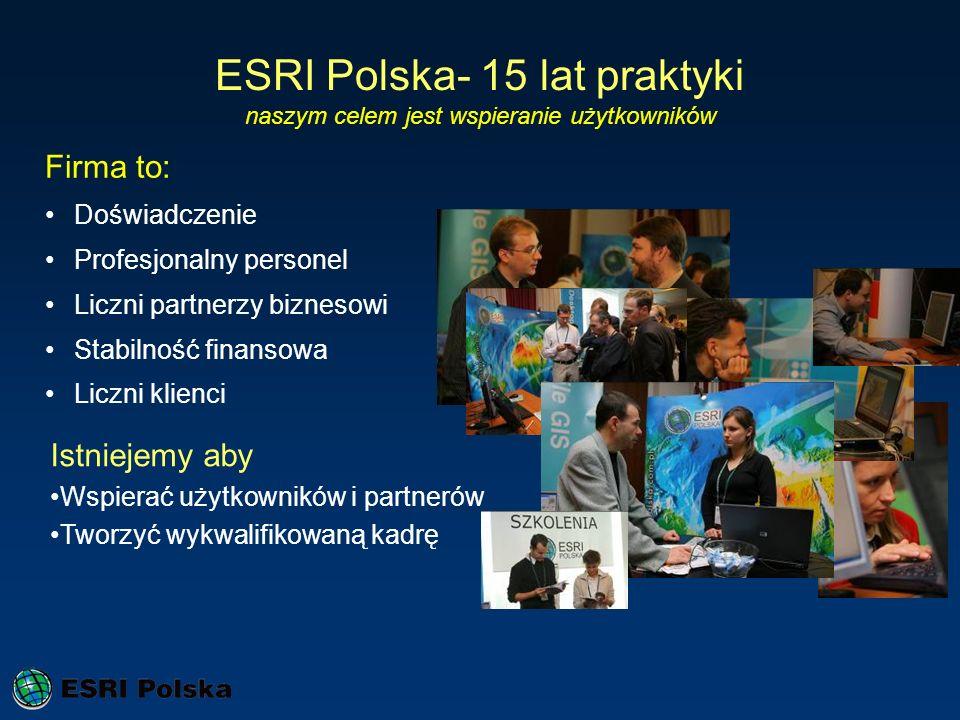 ESRI Polska- 15 lat praktyki naszym celem jest wspieranie użytkowników