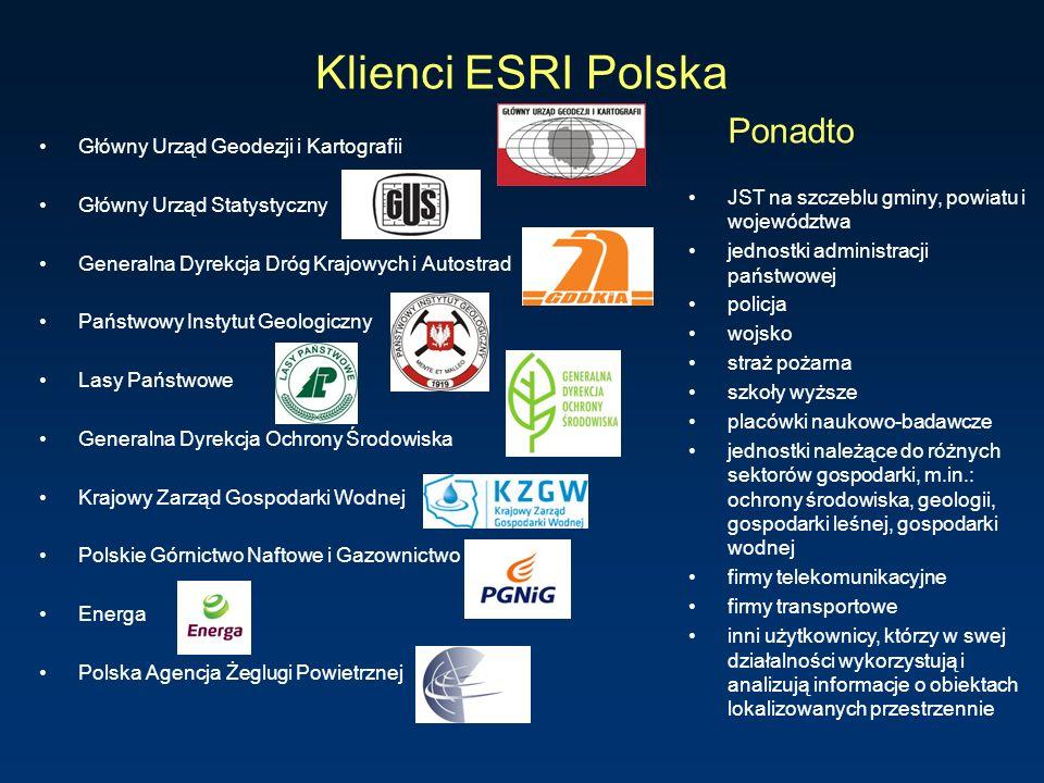 Klienci ESRI Polska Ponadto Główny Urząd Geodezji i Kartografii