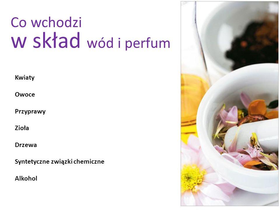 w skład wód i perfum Co wchodzi Kwiaty Owoce Przyprawy Zioła Drzewa
