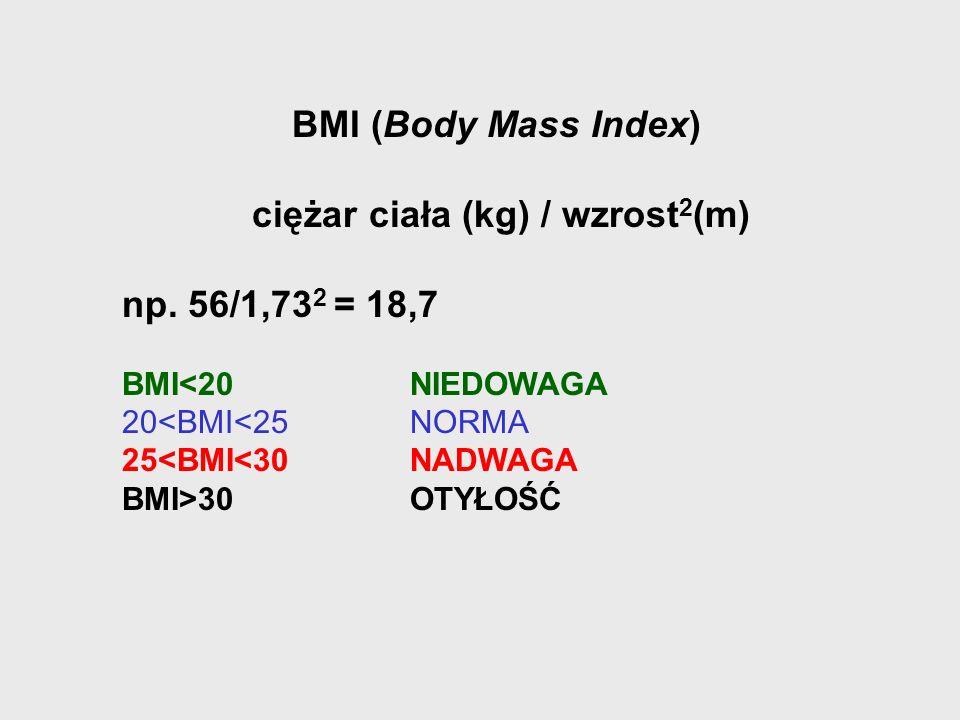 ciężar ciała (kg) / wzrost2(m)