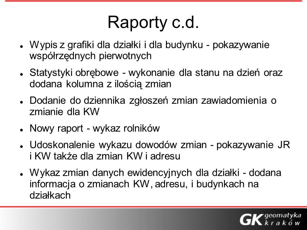 Raporty c.d. Wypis z grafiki dla działki i dla budynku - pokazywanie współrzędnych pierwotnych.