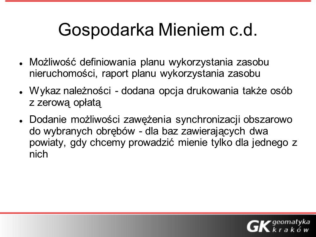 Gospodarka Mieniem c.d. Możliwość definiowania planu wykorzystania zasobu nieruchomości, raport planu wykorzystania zasobu.