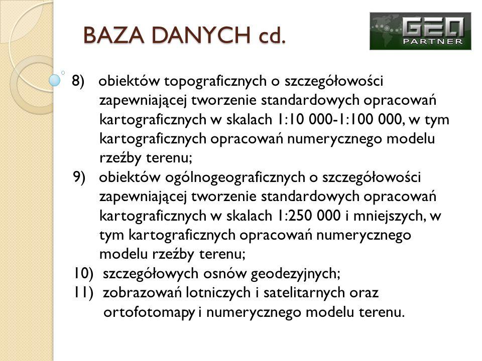 BAZA DANYCH cd. zapewniającej tworzenie standardowych opracowań