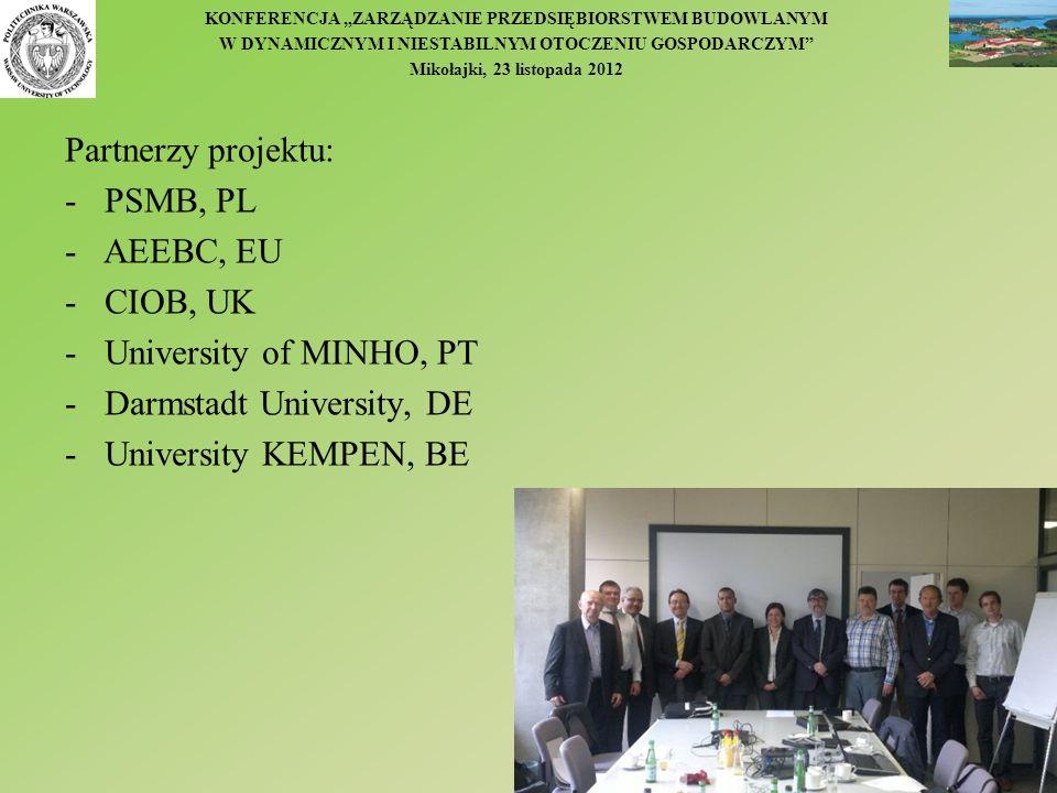 Partnerzy projektu:PSMB, PL. - AEEBC, EU. CIOB, UK. University of MINHO, PT. Darmstadt University, DE.