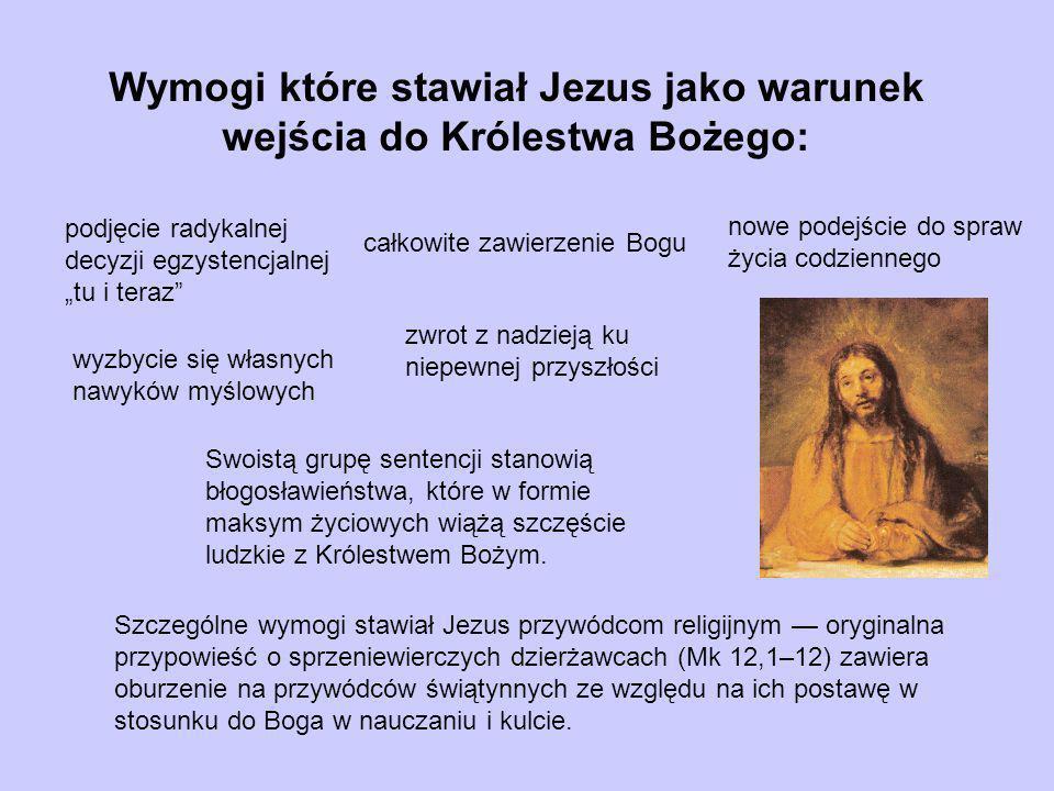 Wymogi które stawiał Jezus jako warunek wejścia do Królestwa Bożego: