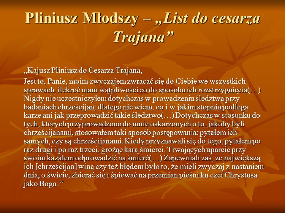 """Pliniusz Młodszy – """"List do cesarza Trajana"""