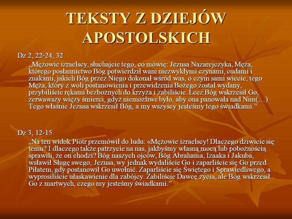TEKSTY Z DZIEJÓW APOSTOLSKICH