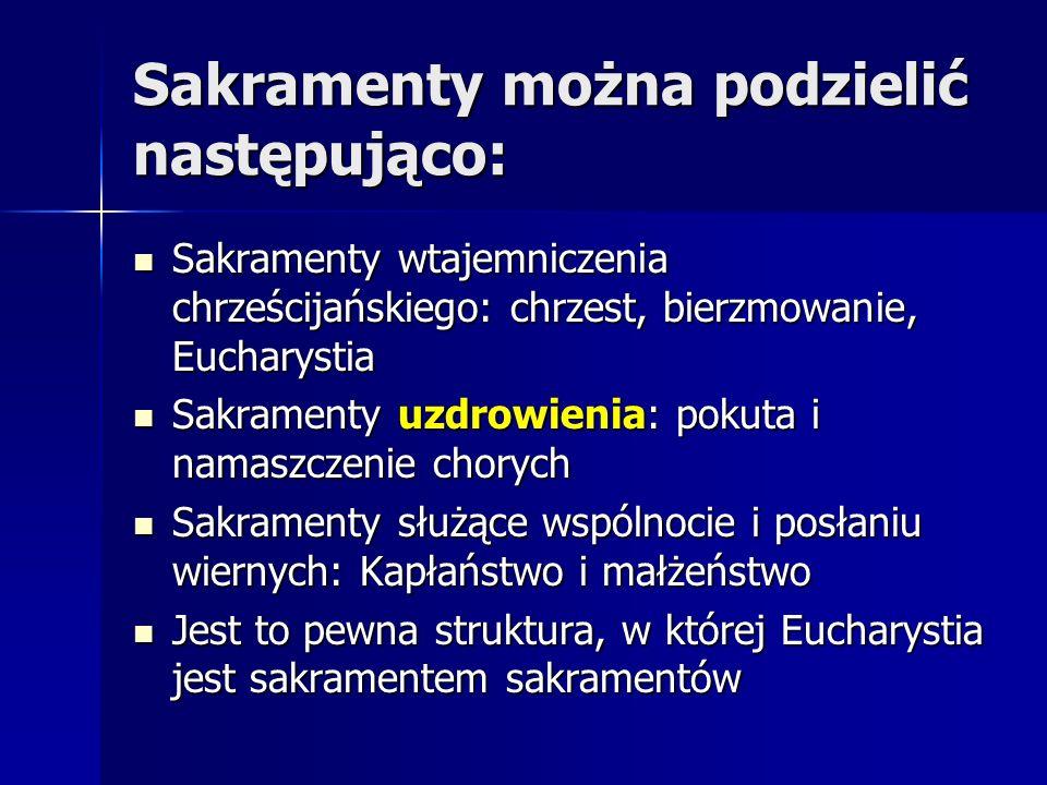 Sakramenty można podzielić następująco:
