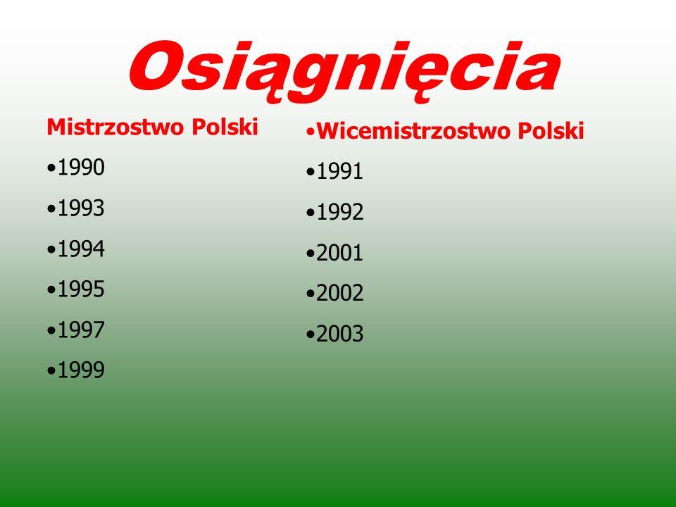 Osiągnięcia Mistrzostwo Polski Wicemistrzostwo Polski 1990 1991 1993