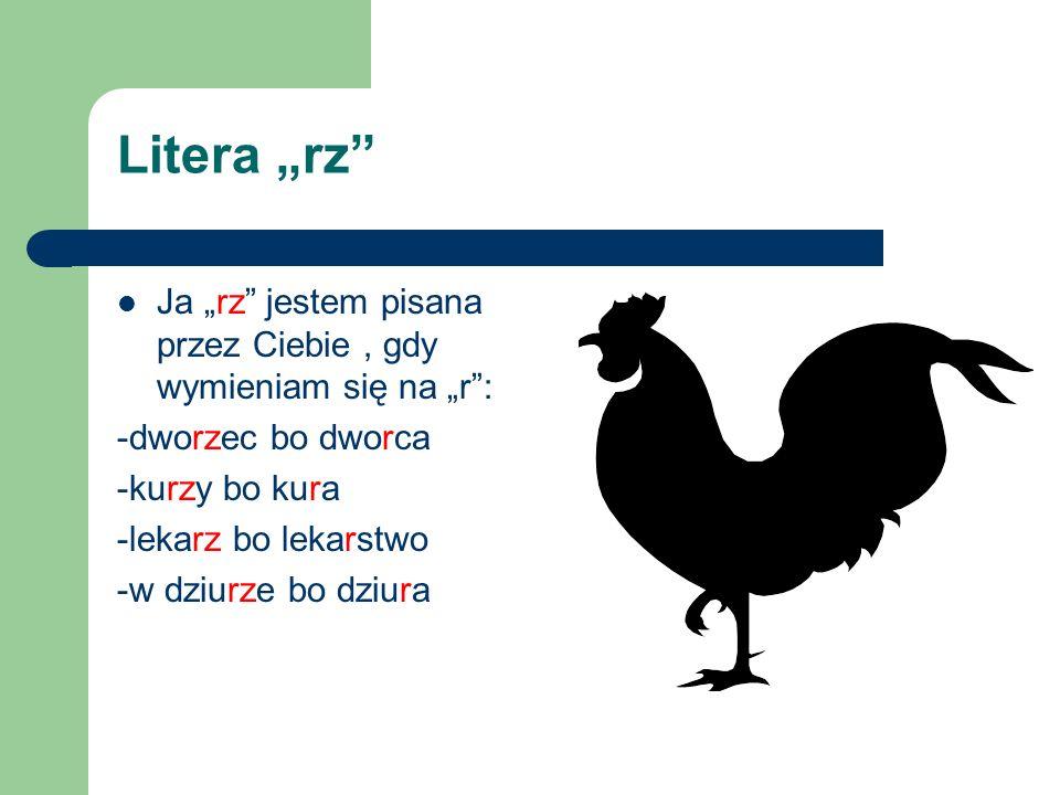 """Litera """"rz Ja """"rz jestem pisana przez Ciebie , gdy wymieniam się na """"r : -dworzec bo dworca. -kurzy bo kura."""