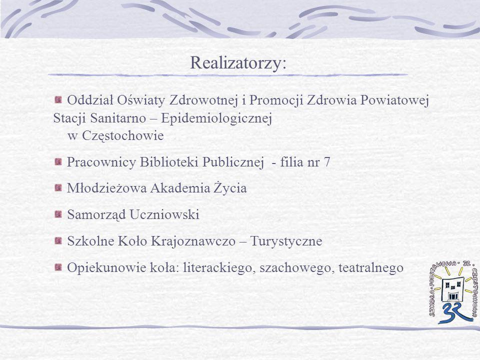 Realizatorzy: Oddział Oświaty Zdrowotnej i Promocji Zdrowia Powiatowej Stacji Sanitarno – Epidemiologicznej w Częstochowie.