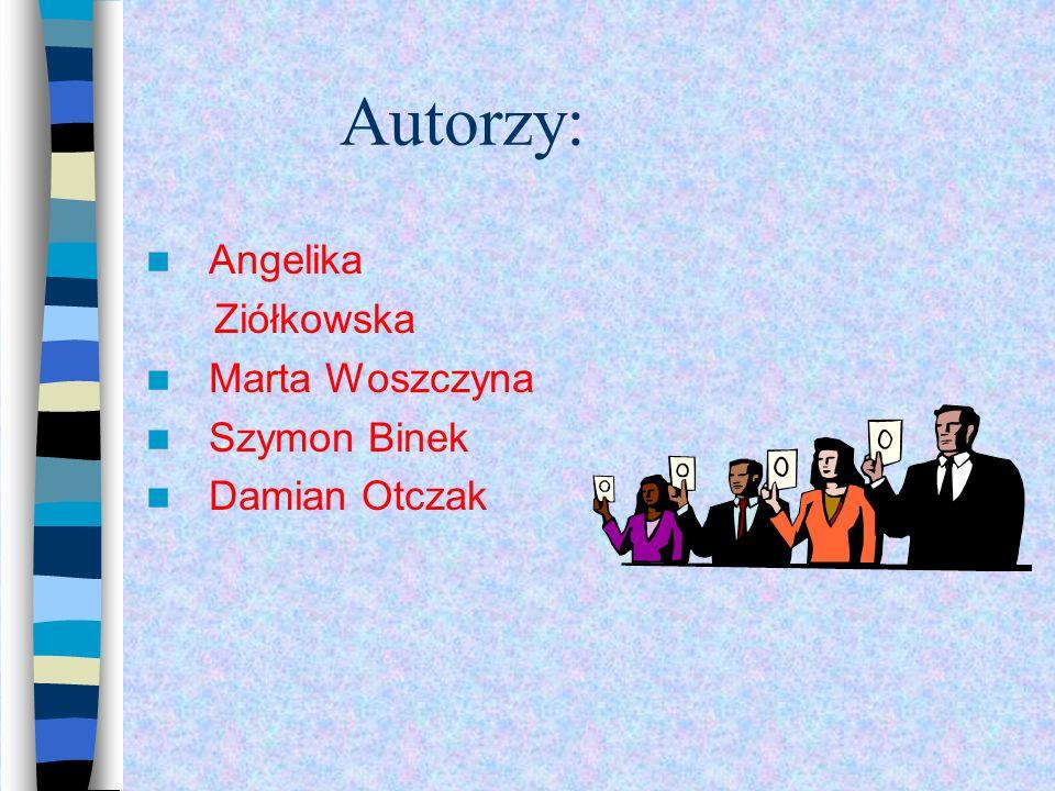 Autorzy: Angelika Ziółkowska Marta Woszczyna Szymon Binek