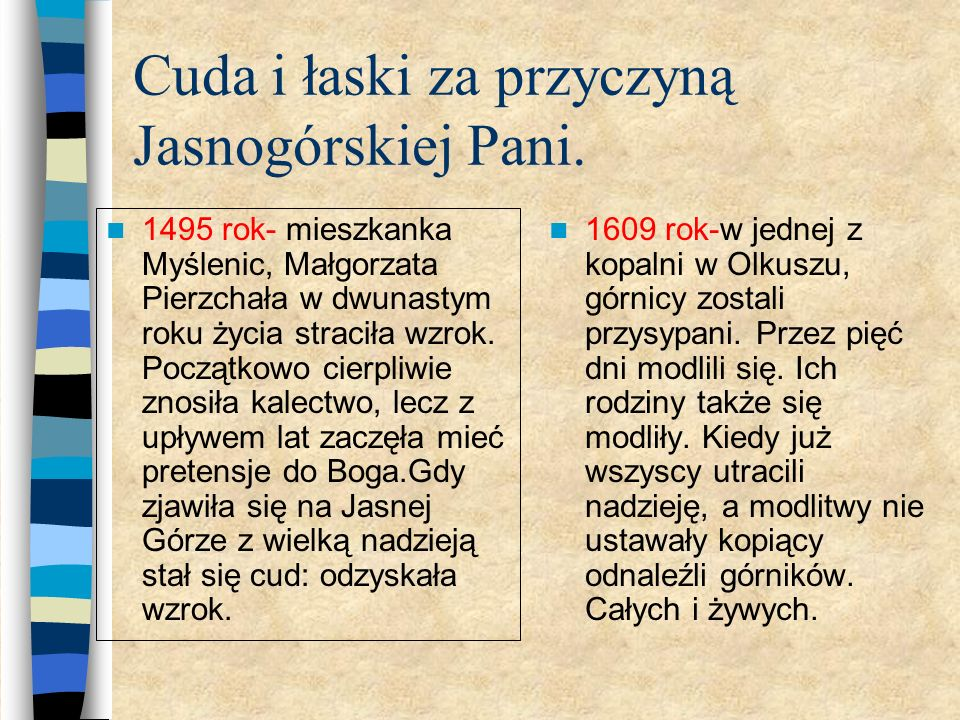 Cuda i łaski za przyczyną Jasnogórskiej Pani.