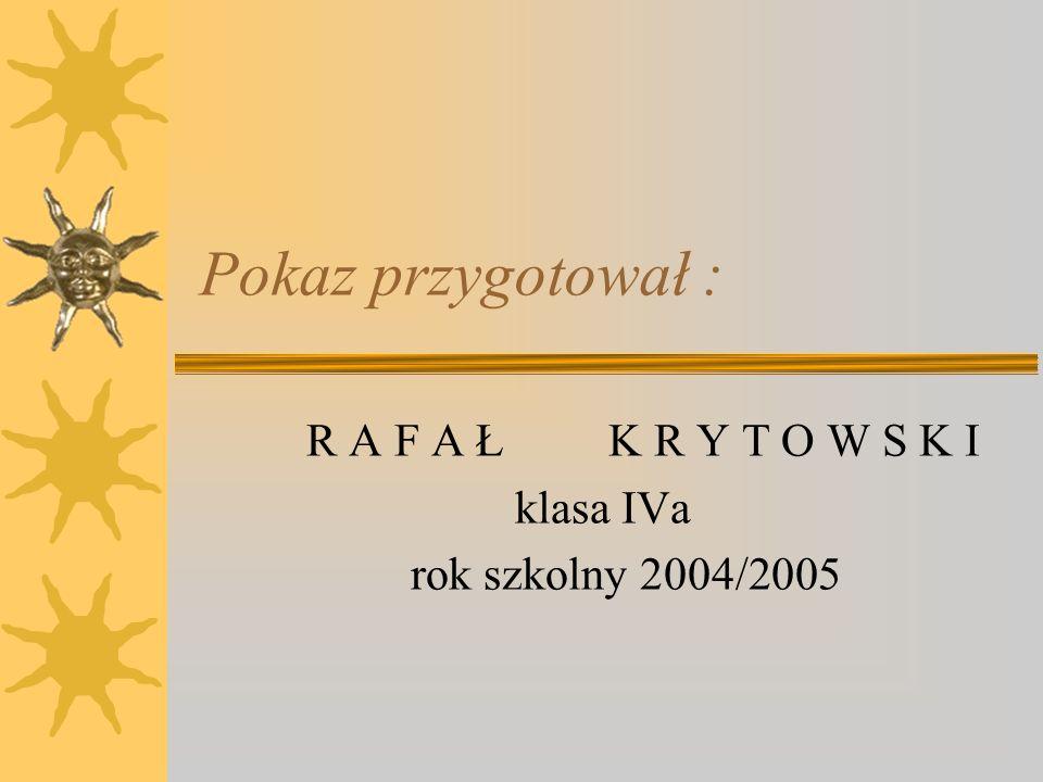 R A F A Ł K R Y T O W S K I klasa IVa rok szkolny 2004/2005