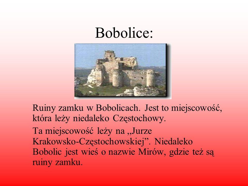 Bobolice: Ruiny zamku w Bobolicach. Jest to miejscowość, która leży niedaleko Częstochowy.