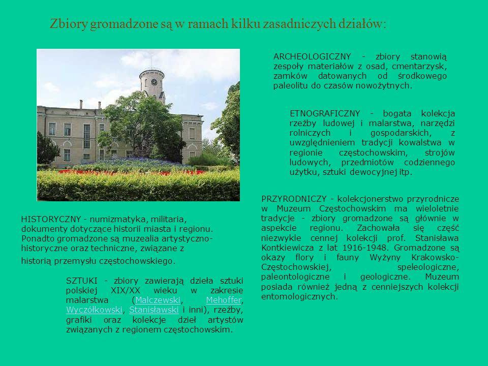 Zbiory gromadzone są w ramach kilku zasadniczych działów: