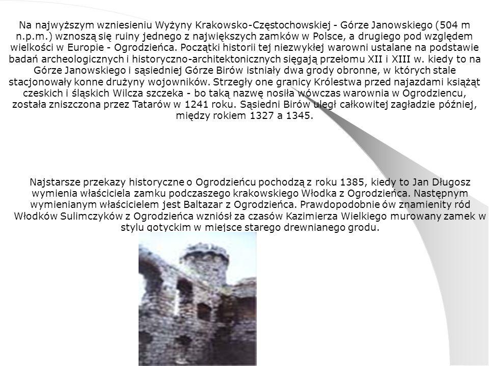 Na najwyższym wzniesieniu Wyżyny Krakowsko-Częstochowskiej - Górze Janowskiego (504 m n.p.m.) wznoszą się ruiny jednego z największych zamków w Polsce, a drugiego pod względem wielkości w Europie - Ogrodzieńca. Początki historii tej niezwykłej warowni ustalane na podstawie badań archeologicznych i historyczno-architektonicznych sięgają przełomu XII i XIII w. kiedy to na Górze Janowskiego i sąsiedniej Górze Birów istniały dwa grody obronne, w których stale stacjonowały konne drużyny wojowników. Strzegły one granicy Królestwa przed najazdami książąt czeskich i śląskich Wilcza szczeka - bo taką nazwę nosiła wówczas warownia w Ogrodziencu, została zniszczona przez Tatarów w 1241 roku. Sąsiedni Birów uległ całkowitej zagładzie później, między rokiem 1327 a 1345.