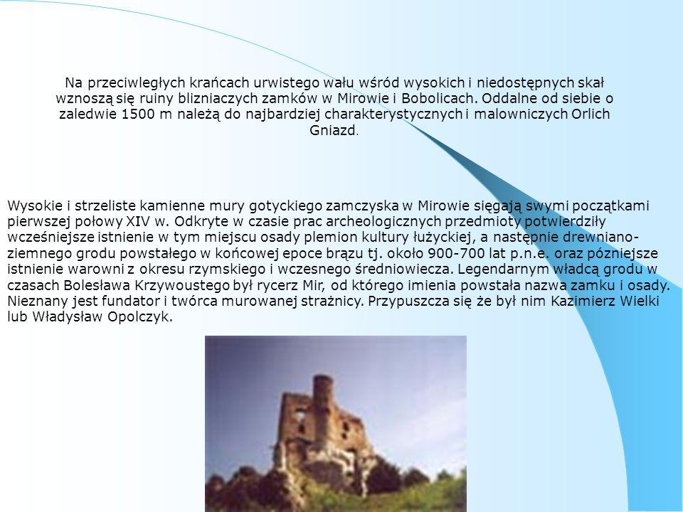 Na przeciwległych krańcach urwistego wału wśród wysokich i niedostępnych skał wznoszą się ruiny blizniaczych zamków w Mirowie i Bobolicach. Oddalne od siebie o zaledwie 1500 m należą do najbardziej charakterystycznych i malowniczych Orlich Gniazd.