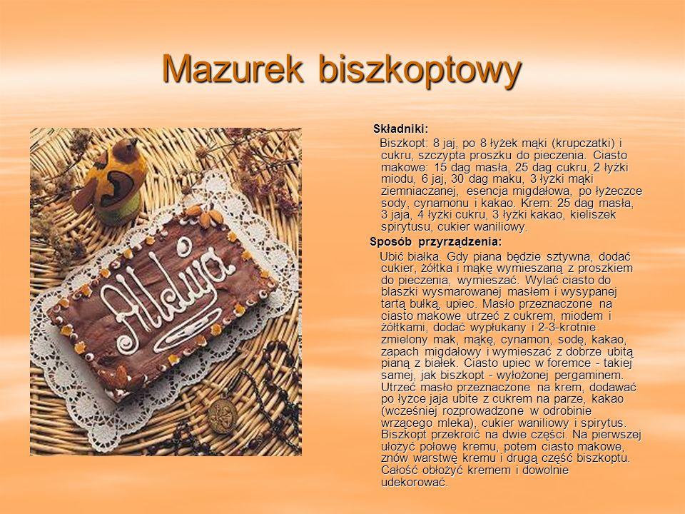 Mazurek biszkoptowy Składniki: