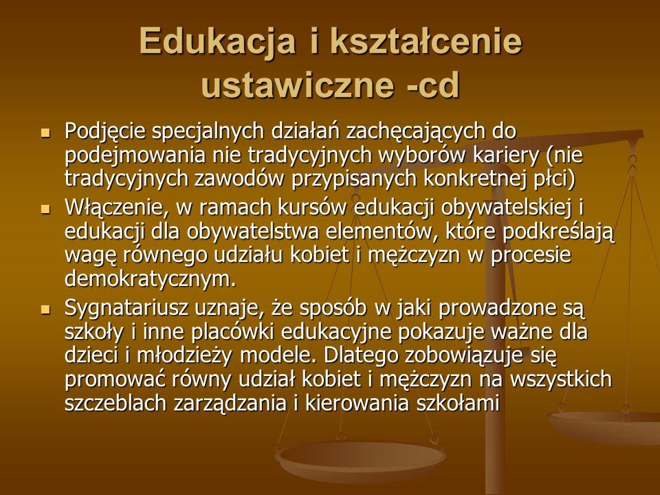 Edukacja i kształcenie ustawiczne -cd