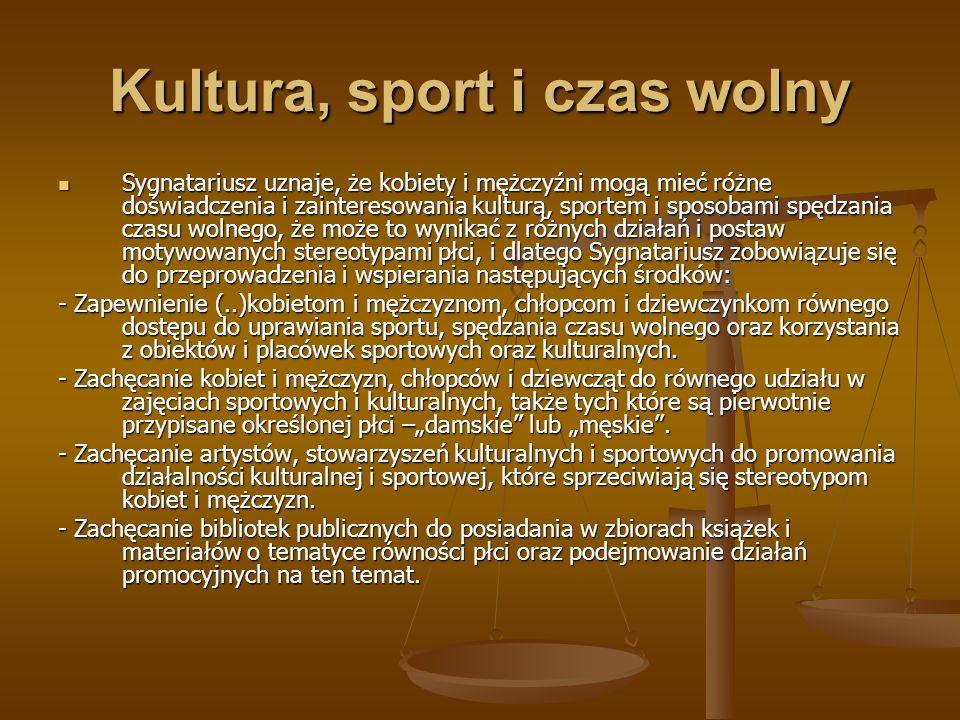 Kultura, sport i czas wolny