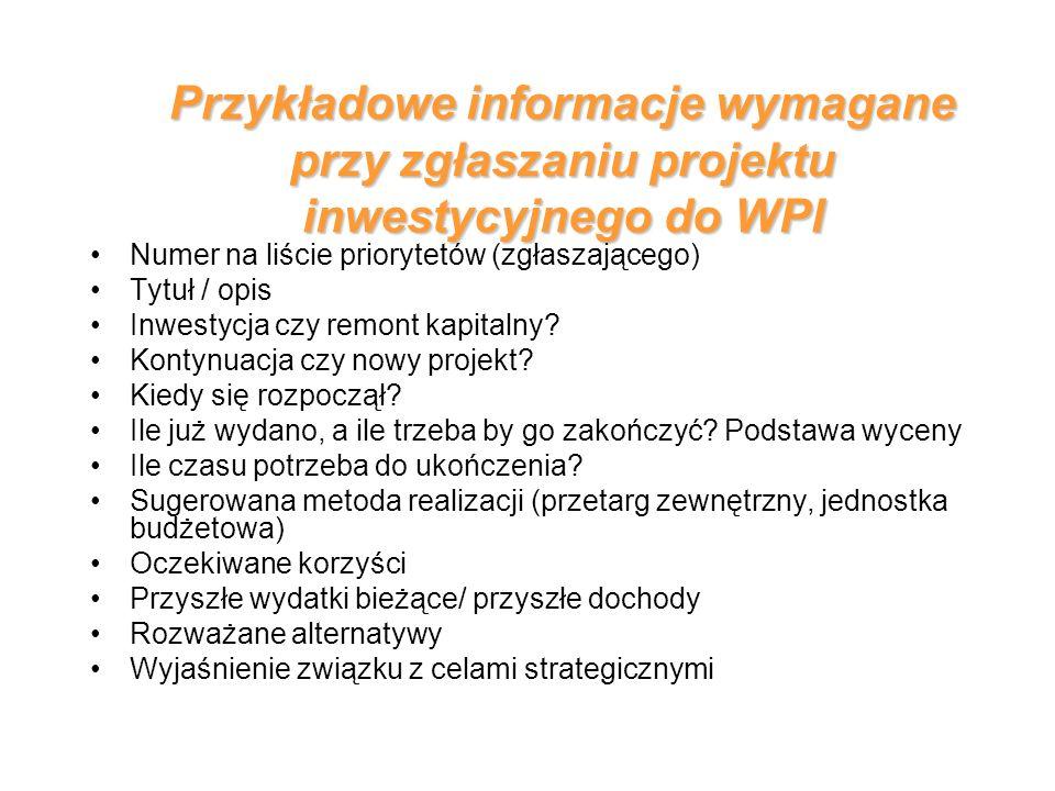 Przykładowe informacje wymagane przy zgłaszaniu projektu inwestycyjnego do WPI