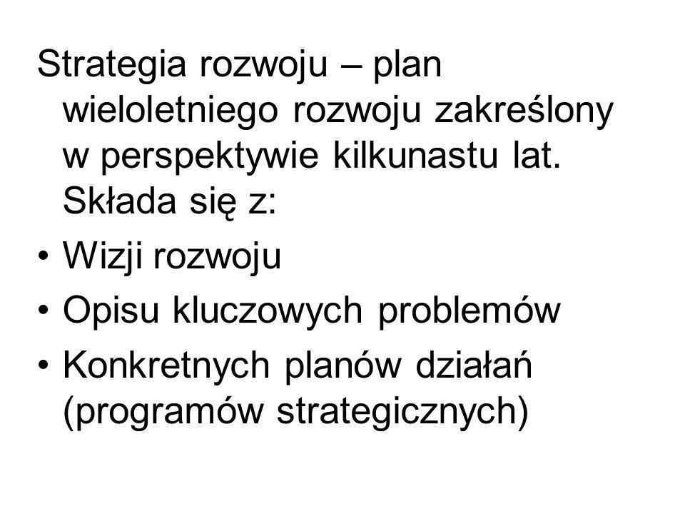 Strategia rozwoju – plan wieloletniego rozwoju zakreślony w perspektywie kilkunastu lat. Składa się z: