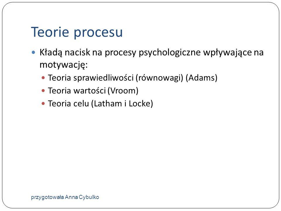Teorie procesu Kładą nacisk na procesy psychologiczne wpływające na motywację: Teoria sprawiedliwości (równowagi) (Adams)
