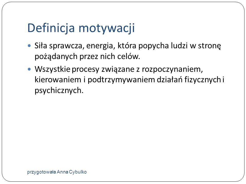 Definicja motywacji Siła sprawcza, energia, która popycha ludzi w stronę pożądanych przez nich celów.