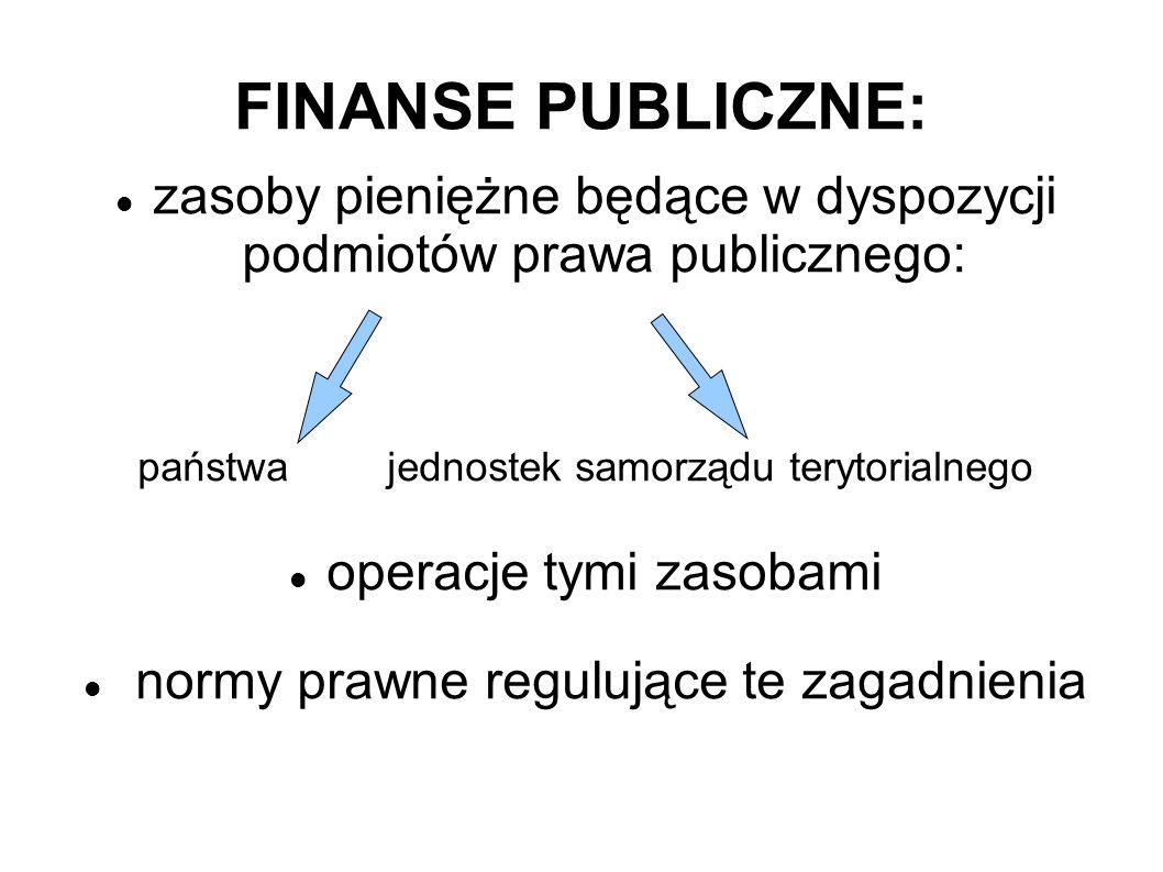 FINANSE PUBLICZNE: zasoby pieniężne będące w dyspozycji podmiotów prawa publicznego: państwa jednostek samorządu terytorialnego.