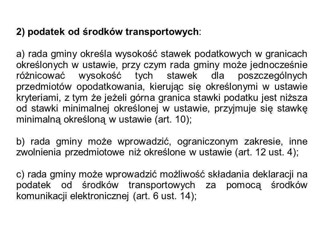 2) podatek od środków transportowych: