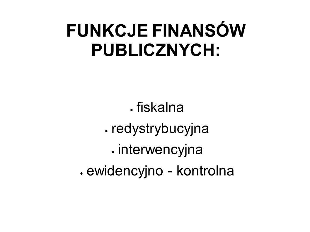 FUNKCJE FINANSÓW PUBLICZNYCH:
