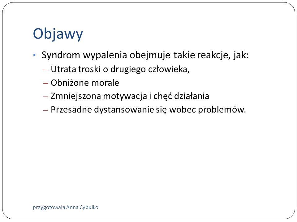 Objawy Syndrom wypalenia obejmuje takie reakcje, jak: