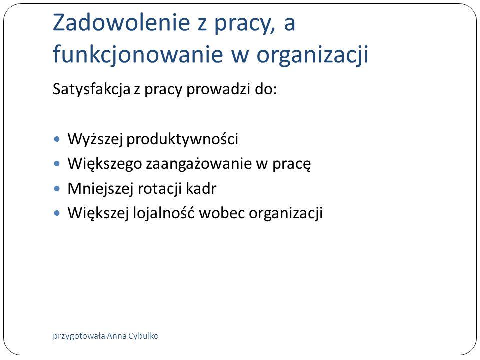 Zadowolenie z pracy, a funkcjonowanie w organizacji