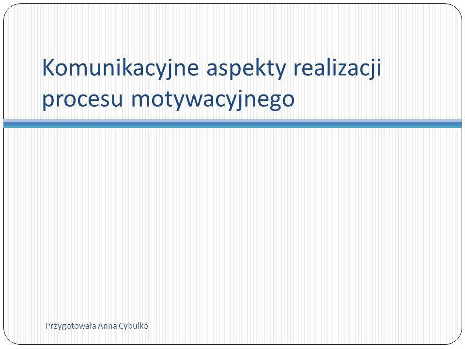 Komunikacyjne aspekty realizacji procesu motywacyjnego