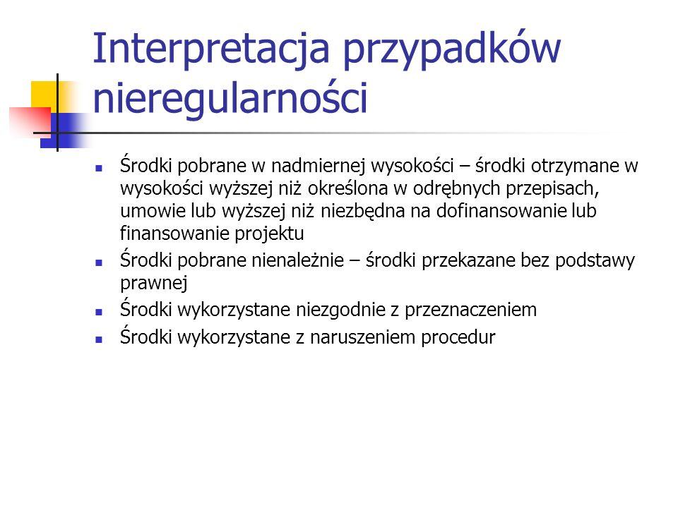 Interpretacja przypadków nieregularności