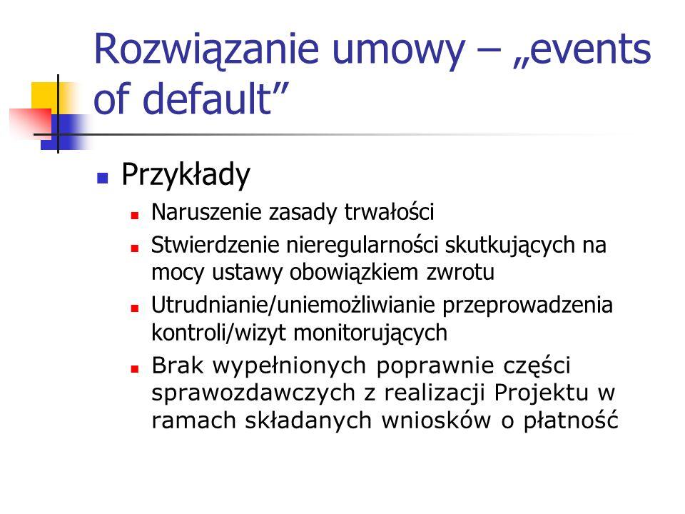 """Rozwiązanie umowy – """"events of default"""