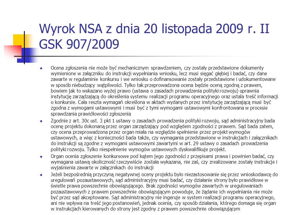 Wyrok NSA z dnia 20 listopada 2009 r. II GSK 907/2009